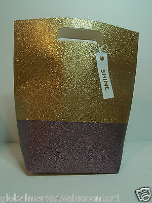 Bath & Body Works Holiday Sparkly Shiny Glitter Gold Silver cute Party Gift Bag