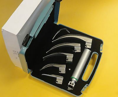 EMS Macintosh Laryngoscope Set, 5 Fiber-optic Blades with spare tube* CE New*