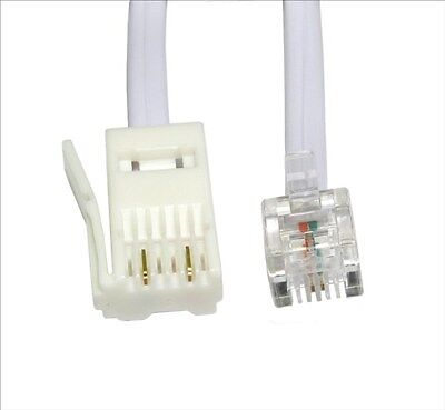 10m RJ11 to BT Modem Cable Lead Telephone Phone Plug BT Socket 2 PIN Crossover