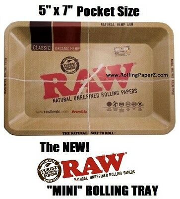 "RAW ""MINI"" Rolling Paper Vintage Style ASHTRAY OR Cigarette ROLLING TRAY 7""x5"""