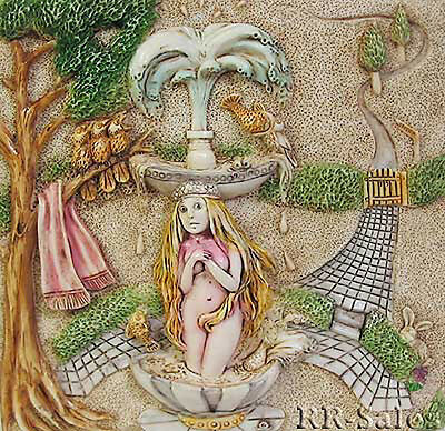 Fountain Blue The Birth of Venus Harmony Kingdom Tile Byrons Secret Picturesque
