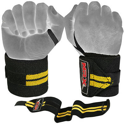 """Weight Lifting Wrist Wraps Support Gym Training Fitness Bandage Strap Yellow 18"""""""