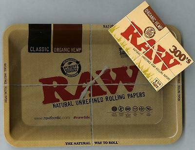 "RAW ""MINI"" METAL Rolling Tray(7 1/8"" x 5"")+PACK of RAW 300s 1 1/4 ORGANIC PAPERS"
