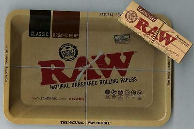"RAW ""MINI"" Rolling Tray(7""x 5"")+CONNOISSEUR 1 1/4 ""ORGANIC HEMP"" PAPERS+TIPS"
