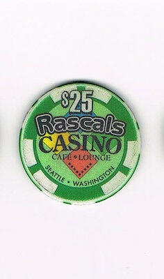 Rascals Casino Cafe & Lounge Seattle, WA Washington $25 Casino Chip