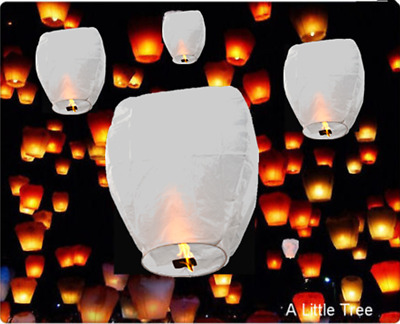 White Chinese Flying Sky Lanterns Birthday Wedding Party (100% Eco-Friendly)