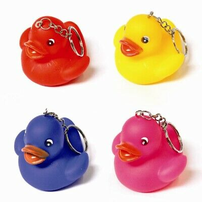 100 x Duck Keyrings Water Bath Fun Toy Keychains Mixed Colour Wholesale