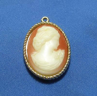 Vintage Sarah Coventry Salmon Pink Cameo Woman Head Shoulders Goldtone Pendant
