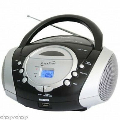 Supersonic Portable Audio System MP3-CD Player with USB-AUX Inputs & AM-FM Radio