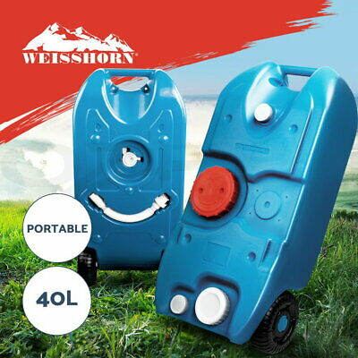 40L Portable Wheel Water Tank Camping Motorhome Caravan Storage Waste Transport