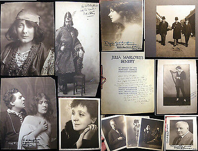 EARLY 20th CENTURY COLLECTION SIGNED INSCRIBED THEATRE PHOTOS SOTHERN MARLOWE +