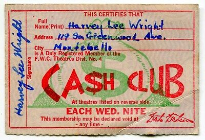 """1940s Vintage """"FWC THEATRES"""" Club Card [Southern California]"""