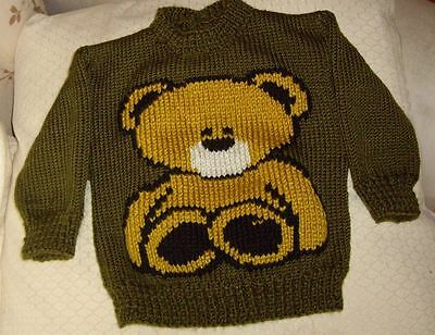 Teddy Bear... Size 1.. New Hand Knitted Button Opening In Back