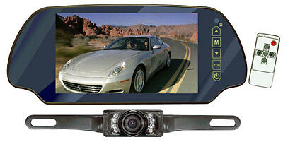 PLCM7200 7'' Mirror Monitor w/License Plate Mount Rear View Night Vision Camera