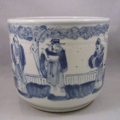 Antique Chinese blue and white brush pot immortals Qing