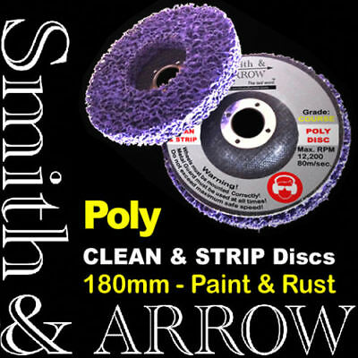 """2x 180mm 7"""" POLY STRIP DISC MEDIUM WHEEL PAINT RUST REMOVAL CLEAN ANGLE GRINDER"""