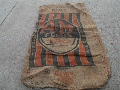 Vintage A & M Feeds Feed The A & M Way Dairy Feed burlap Sack