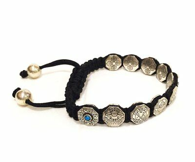 Adjustable Fair Trade Unique Silvery 8 Auspicious Lucky Symbols Bracelet Nepal