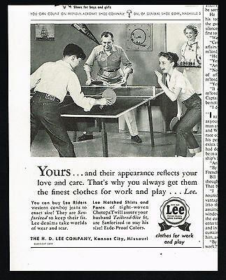 1954 Lee Jeans Shirts Table Tennis Ping Ping Vintage Print Ad