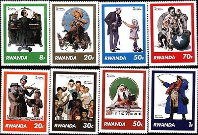 Norman Rockwell Saturday Evening Post Covers Stamps Rwanda # 1027-1034 MNH