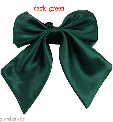 Bottle Green Ladies Fashion Satin Style Bow Knot Neck Tie Cravat Casual Party