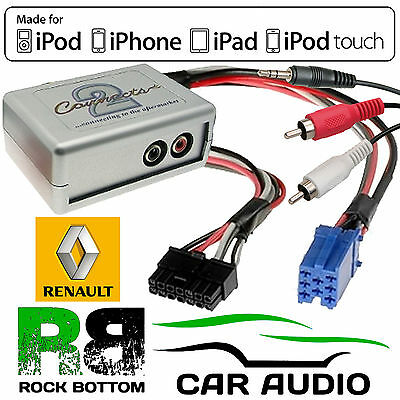 CTVRNX001 Renault Laguna 2000-2013 Car Aux In MP3 iPhone iPod Interface Adaptor