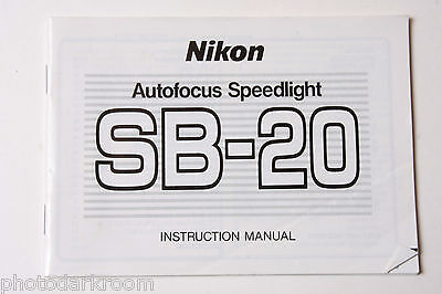 Nikon SB-20 Speedlight Flash Instruction Manual Book Owners Guide Eng - USED B50