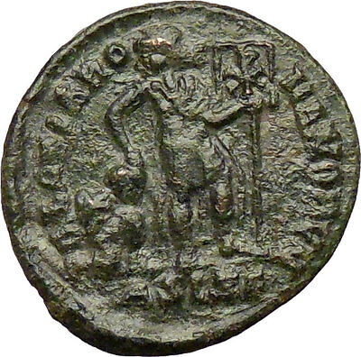 VALENTINIAN II 378AD Ancient Roman Coin Labarum Christ monogram  Chi-Rho  i29211