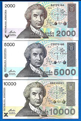 Croatia P-23, P-24, P-25 Year 1992 Uncirculated 3 Banknotes SET# 3