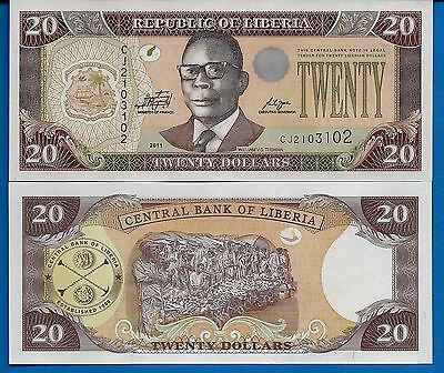 Liberia P-28f  20 Dollars Year 2011 Uncirculated Banknote FREE SHIPPING