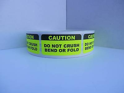 CAUTION DO NOT CRUSH BEND OR FOLD 1x2 Sticker Label fluor chartreuse 500/roll