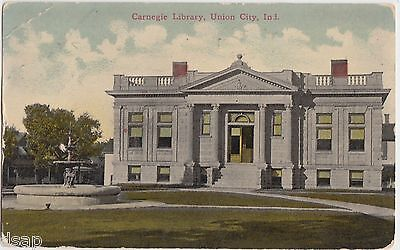 1918 UNION CITY Indiana Ind Postcard CARNEGIE LIBRARY Building