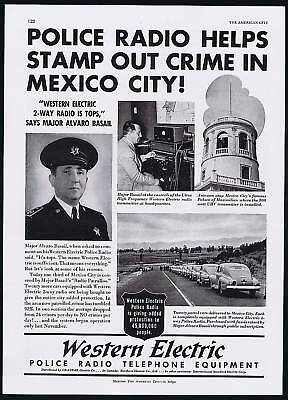 1948 Mexico City Western Electric Police Radio Telephone Vintage Print Ad