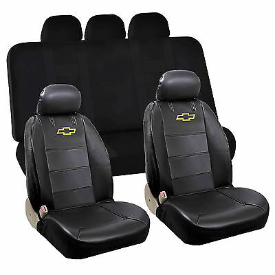 9pc Front Sideless Seat Covers Black Rear Bench Cover Set for Chevy Chevrolet