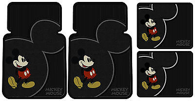 4 Piece Mickey Mouse Vintage Front Rear Rubber Floor Mats Set