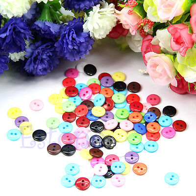 New 100/200pcs 10mm Round Shape Mixed Color Resin Buttons Sewing Accessories Hot