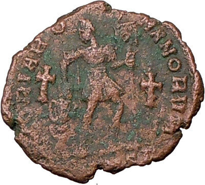 VALENTINIAN I w labarum Two  Crosses Very Rare 375AD Ancient Roman Coin i20464