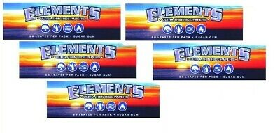 5PKS ELEMENTS Ultra Thin Rice 1 1/4 Cigarette Rolling Papers FREE NEW SCOOP CARD