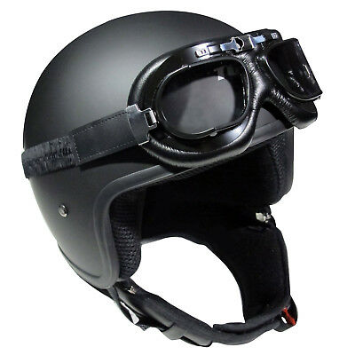 Classic Matt Black Motorcycle Open Face Crash Helmet Vintage Clear Lens Goggles