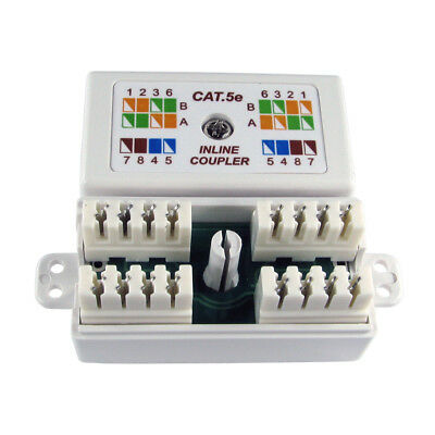 Cat5e Inline Punchdown Krone Cable Lead Coupler WHITE