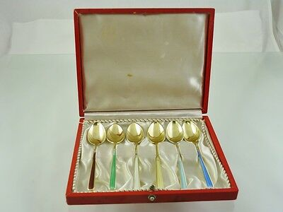 PLAIN MULTI COLOR ENAMELED GOLDEN SET 6 DEMITASSE SPOONS BY VOLMER BOHNER & CO