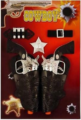 Kids Adults Cowboy Cowgirl Guns Pistols & Holster Fancy Dress Toy Set B52 767