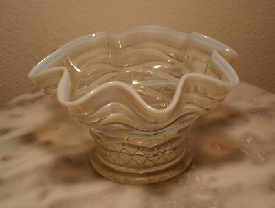 Dugan Lattice & Points White Opalescent Novelty Vase