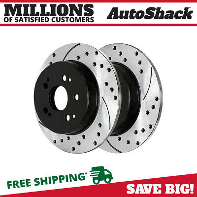 Pair Of 2 Drilled And Slotted Rear Disc Performance Brake Rotors New Set Kit