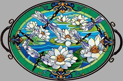 Joan Baker Hand Painted Glass Tray - Dragonfly & Waterlillies