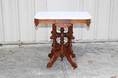 Ornate Burl Walnut Victorian Eastlake Marble Top Table with Fancy Carved Base
