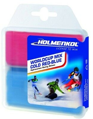 Holmenkol Alpin-Langlauf-Wachs Worldcup Cold red-blue  2 * 35 g