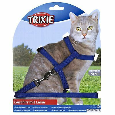 Plain Cat Harness and Lead Set Red Black Blue Purple Trixie 4185