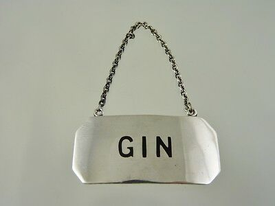 Gin Decanter Label Plain By Birks Roden Sterling