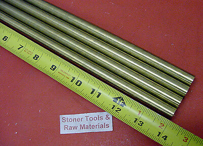 "4 Pieces 5/16"" C360 BRASS SOLID ROUND ROD 14"" long H02 Lathe Bar Stock .312"" OD"